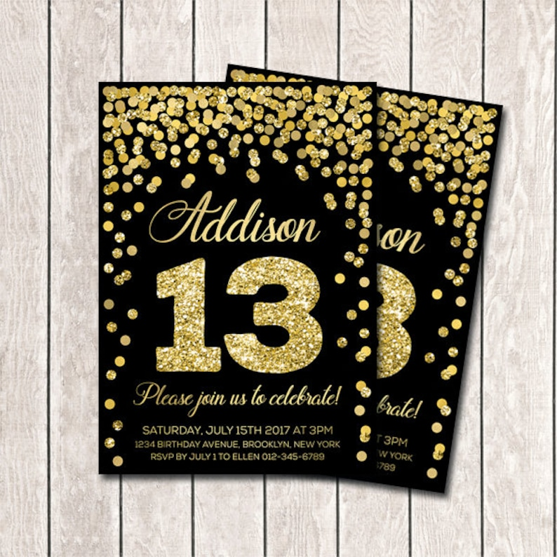 13th Birthday Invitation Girl Invites Printable Gold