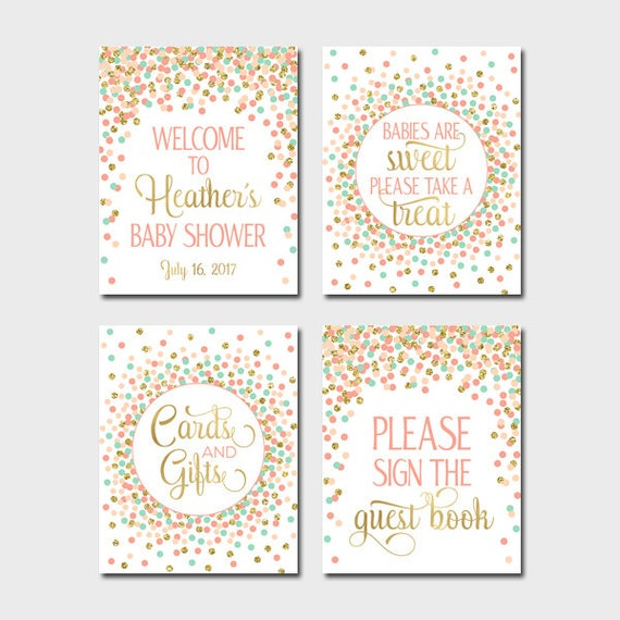 picture regarding Baby Shower Signs Printable identify Kid Shower Indications Printable Lady Boy or girl Shower Desk Indicators Deal Welcome Snacks Visitor Reserve Presents Playing cards Coral Mint Peach Gold Decor