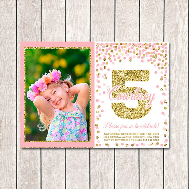 5th Birthday Invitation Printable Fifth Invite With
