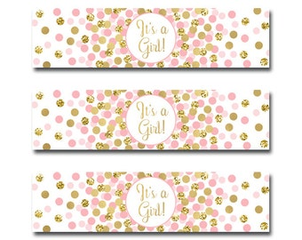 Baby Shower Water Bottle Labels Printable Party Supplies It's A Girl Water Bottle Labels Pink Gold Water Wrappers
