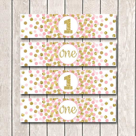 Pink And Gold Party Labels Girl 1st Birthday Decorations