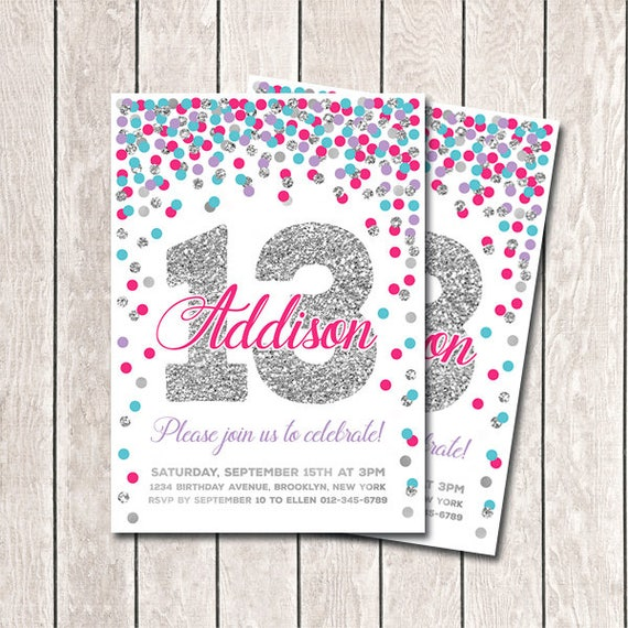 13th Birthday Invitation Girl Printable Invites Purple Pink Teal Silver Confetti Any Age