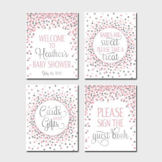 graphic relating to Baby Shower Signs Printable named Youngster Shower Signs and symptoms Printable Female Youngster Shower Desk Signs and symptoms Deal Package Welcome Snacks Visitor Reserve Presents Playing cards Red And Silver Confetti Decor