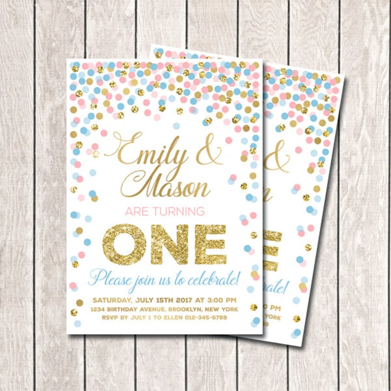 Twins First Birthday Invitations Printable Twin 1st Birthday Etsy