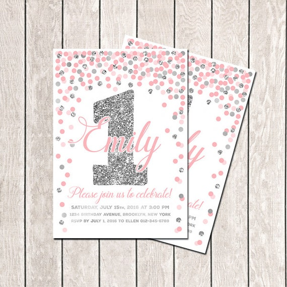 first birthday invitation pink gray girls birthday confetti etsy