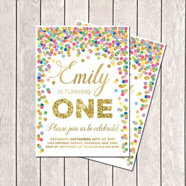 First Birthday Invitation Rainbow Invite Confetti