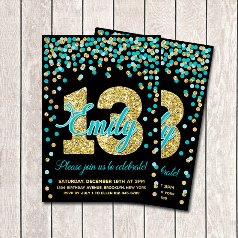13th Birthday Invitation Printable Teal And Gold Confetti