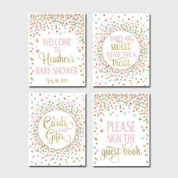 Baby Shower Table Signs Printable Girl Baby Shower Signs Etsy