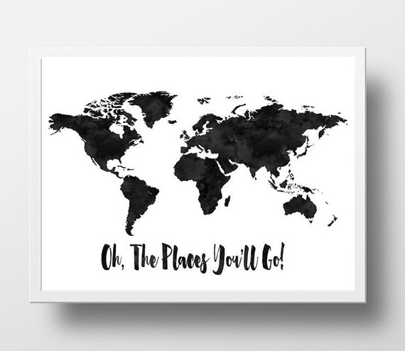 Items Similar To World Map Print Oh The Places You Ll Go