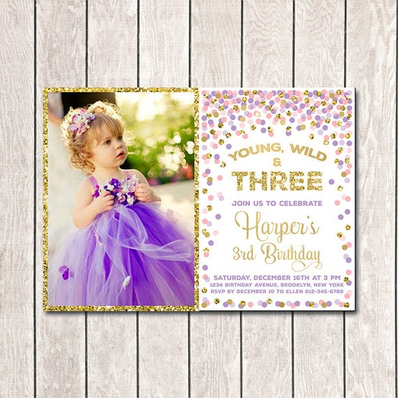 Girl 3rd birthday invite young wild and three birthday party etsy image 0 filmwisefo