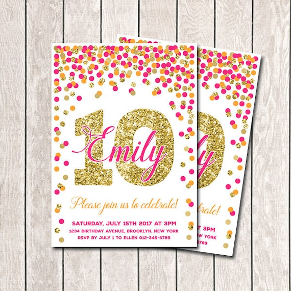 10th Birthday Invitation Hot Pink Orange And Gold Confetti Etsy