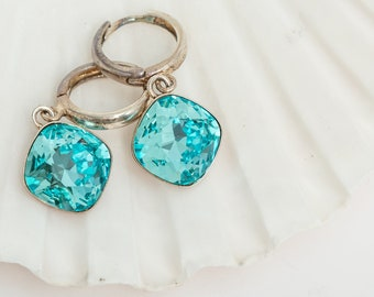 Swarovski Elements Light Turquoise Cushion Cut Sterling Silver earrings