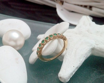 SALE! May birthstone ring, emerald ring, green stone ring, gold stacking ring, gemstone ring, slim cute ring,delicate ring