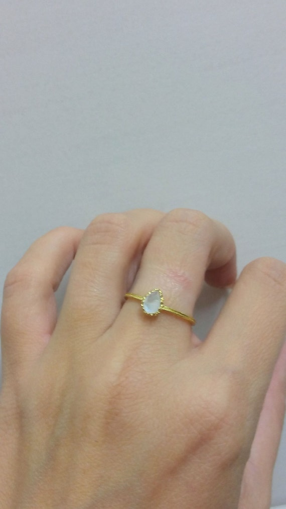 Simple Ring Rainbow Moonstone Ring Gold Ring Genuine Gemstone Tiny Ring June Ring Prong Ring Stacking Ring Delicate Ring
