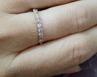 SALE!  Amethyst Ring,February Stacking Ring,Thin TIny Ring,Gold Ring,Bezel Set, Purple Ring, Simple Ring
