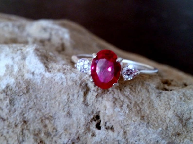 wedding gift Birthstone ring,Triple Ruby ring,red engagement ring,July ring,alternative ring SALE gift for her