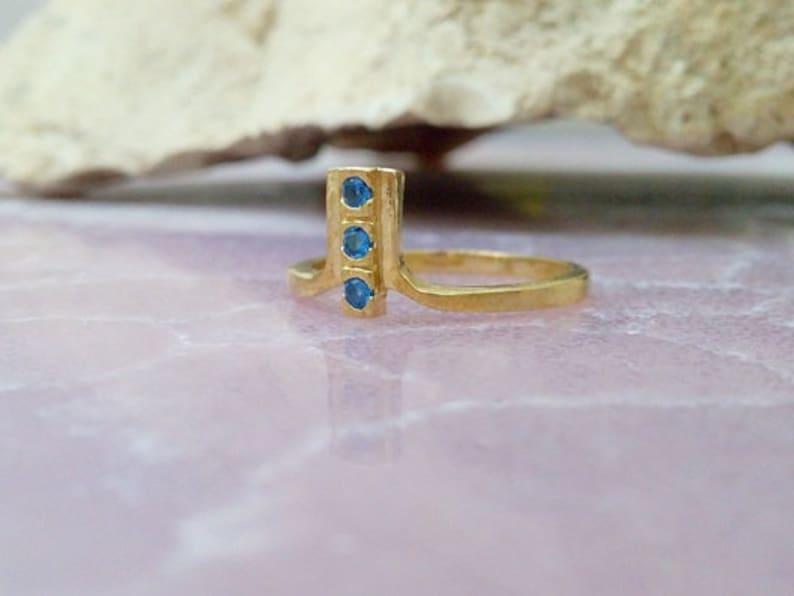 gemstone ring SALE!!Blue topaz ring london topaz band,tree stones ring light blue ring,stack ring gold ring