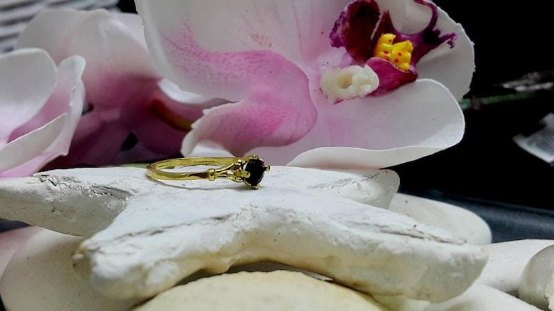 SALE!Prong Round Onyx Ring Bridal Ring,Gold Ring Thin Stackable Ring Gemstone Ring,Stacking Ring,Black Ring