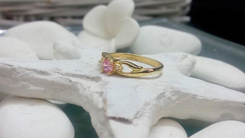 Roze Quartz Ring,Gold Ring,Tiny Ring,Clear Quartz Ring,Gemstone Ring,Prong Set Ring,Birthstone Ring SALE