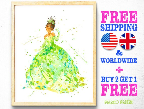 Tiana Princess Watercolor Print Tiana Nursery Decor  Disney Girl Gift Art Quote