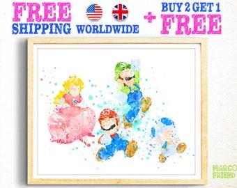 Super Mario Bros Watercolor Art Print Poster - Home Decor - Watercolor Painting - Wall Art - Nursery Decor - Kids Decor - Christmas Gift -05
