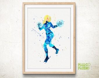 Fantastic Four Prints, Fantastic 4 Prints, Invisible Woman Prints, Superhero, Watercolor Art, Home Decor, Kids Decor, Girl Decor, Gifts -263