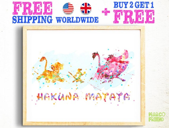 Disney Lion King Hakuna Matata Quote Watercolor Poster Print Wall Decor  Watercolor Painting Watercolor Art Kids Decor Nursery Decor 95