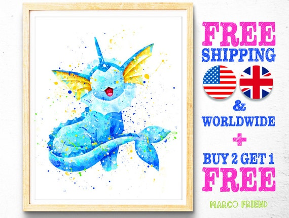 Vaporeon Eevee Evolutions Pokemon Poster Art Print Watercolor Anime Print Poster
