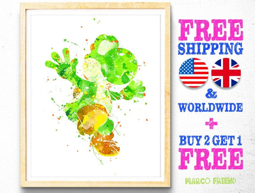 Dragon Yoshi Super Mario Watercolor Art Poster Print Home | Etsy