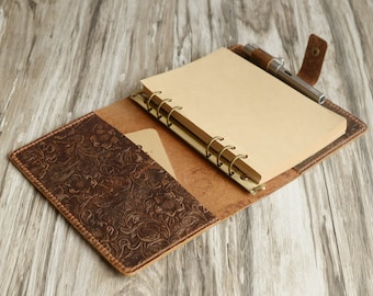 Size A5 / A6 6 ring Leather Refillable Planner Binder, travelers Journal, sketchbook, Distressed tooled Leather, brown, 707