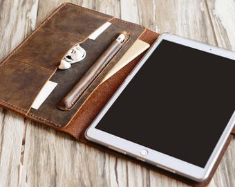 Personalized leather iPad mini 5 case /  iPad 10.2 case / 10.5 / iPad 9.7 / pro 12.9 /  Portfolio Case with apple pencil holder