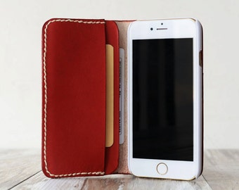 Personalized Genuine Leather IPhone case for iphone x / 8 / 8 Plus / 7 / 7 Plus / 6 / 6 Plus / 6s / 6s Plus / 5 / SE  Leather Wallet- red