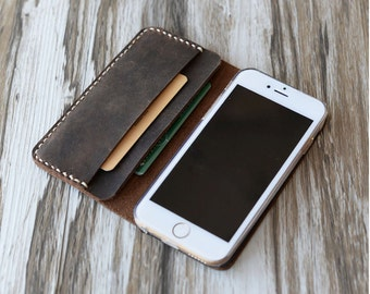 Personalized iPhone 13 / 13 Pro Max / 13 mini / 12 / 12 Pro max / 11 / x / xr / xs max / 8 / 7 plus case, Distressed brown leather