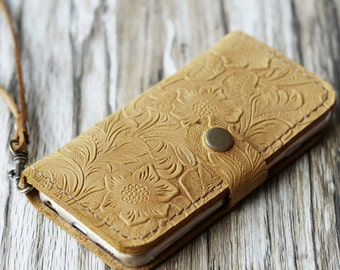 Wristlet iPhone x / 8 case iPhone 7 plus / 8 Plus wallet case iPhone 7 cover iPhone 7 plus case wallet cover vintge look - Tan Pattern