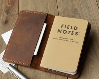 """Leather Journal Cover for Moleskine Cahier Notebook Pocket size 3.5"""" x 5.5"""" Field Notes Cover Vintage Refillable Notepad Handmade"""
