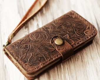 Genuine women Tooled Leather iPhone 12 / 12 Pro Max / 12 mini / SE / 11 / 11 Pro / 11 Pro Max / x / xs max / xr wallet case  (Brown Pattern)
