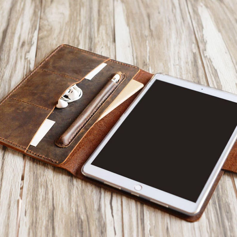 buy online aae11 d42d8 Personalized leather iPad mini 5 case / air 10.5 / iPad 9.7 / pro 12.9 /  Portfolio Case with apple pencil holder - distressed leather