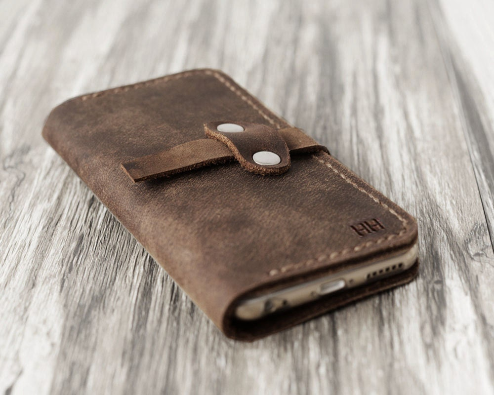 c655ba2c9b56 Personalized Leather IPhone 6 Case / iphone 6 wallet / women's or men's  iPhone 6 wallet / iPhone 6 Plus Case Wallet / distressed brown