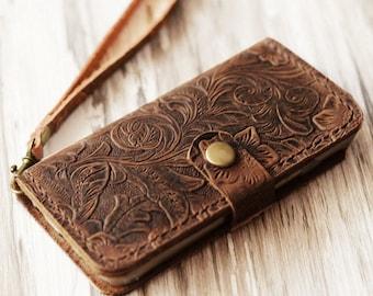 Wristlet tooled leather iPhone 13 / 13 mini / 12 Pro/ SE / 12 Pro Max / 11 / Xs / XR / Xs MAX / 8 Plus / wallet case