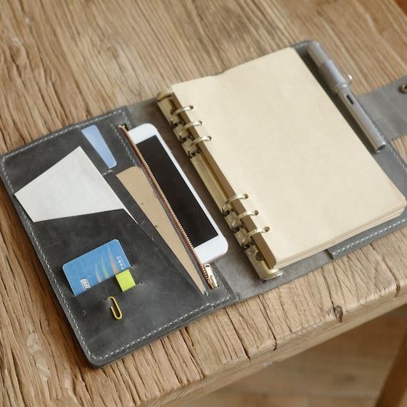 Standard Gr/ö/ße braun Nachf/üllbar Leder Tagebuch Reisende Notebook 11 x 21cm Tagebuch mit 5 Eins/ätze Stiftehalter und Binder Clip