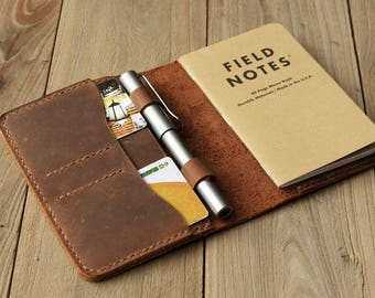 "Leather Journal Cover for Moleskine Cahier Notebook Pocket size with pen holder 3.5"" x 5.5"" Field Notes Cover Vintage Refillable"