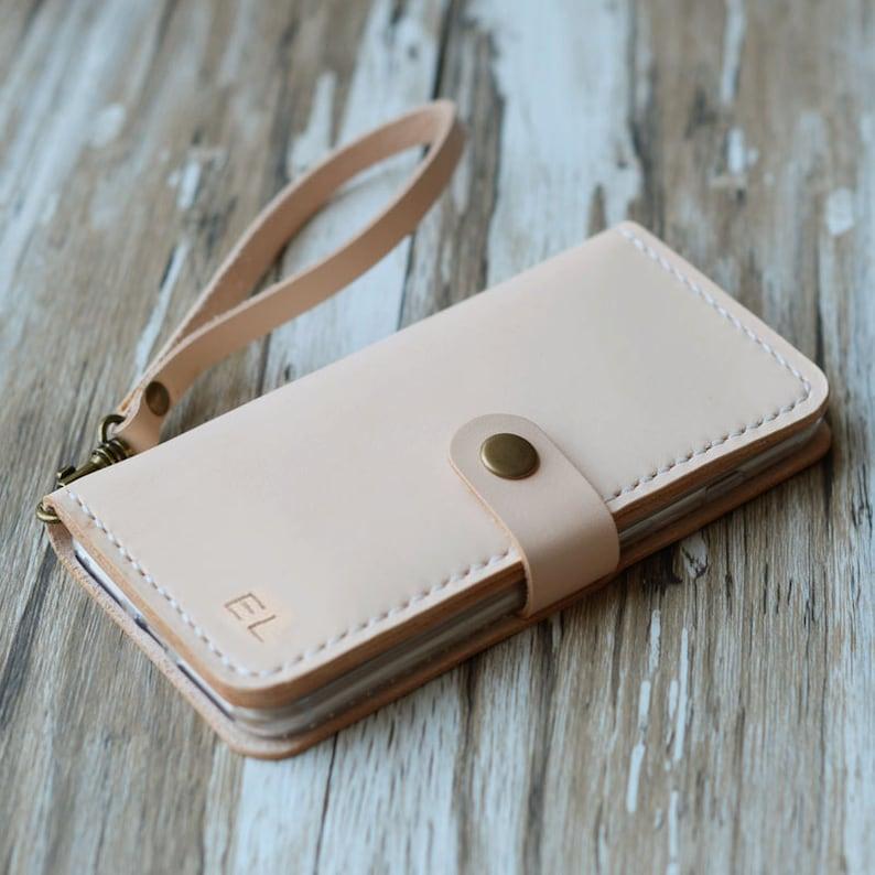 86de74f3ca2d9 Wristlet Genuine Tooled Leather iPhone x / xs max / xr / 8 / 8 Plus /  iPhone 7 / 7 Plus / wallet case monogram wrist strap - nature tan