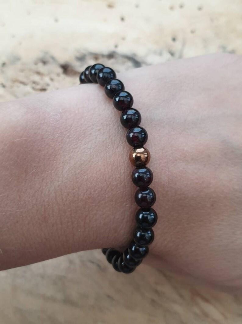 Unisex Garnet Bracelet with Synthetic Golden Hematite a Lovely Christmas Gift