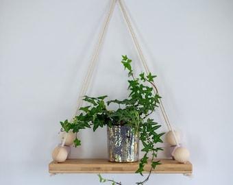 Small Bamboo Shelf, floating shelf, wooden shelf, hanging shelf, display shelf, wall shelves, swing shelf, bamboo shelf.
