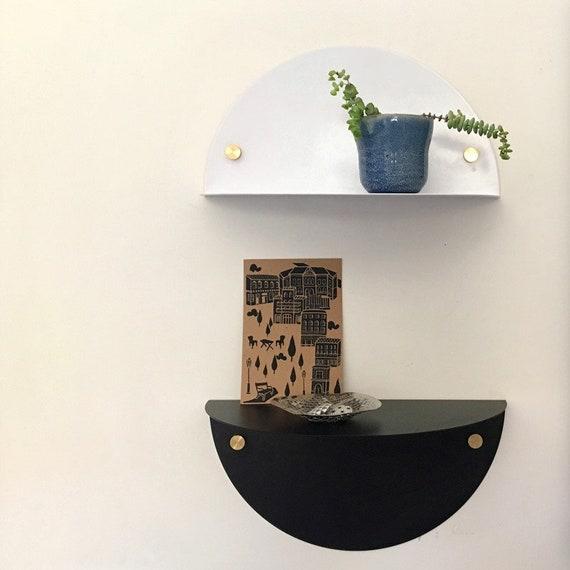 Metal Shelf Floating Shelf Semi Circle In White Etsy