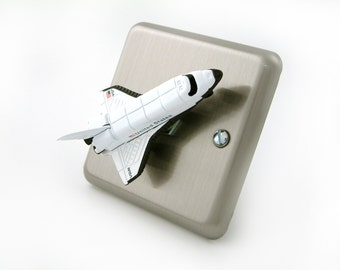 Space Rocket Light - Chrome Light Switch - Children's Space Bedroom - Space Bedroom Decor - Space Shuttle - Space Wall Art - Space Nursery