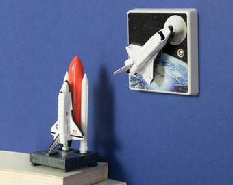 Space Shuttle Rocket Stars & Moon Light Switch For Children's Bedroom Handmade by Candy Queen, Space Bedroom Decor, Space Bedroom,