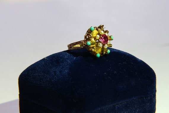 Cocktail ring gold, ruby, turquoise, pearl - image 2