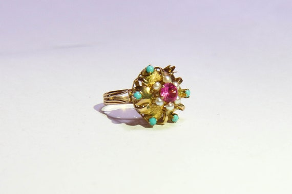Cocktail ring gold, ruby, turquoise, pearl - image 1