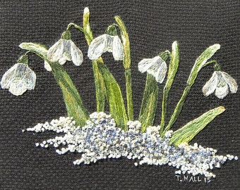 Snowdrops Embroidery, Needle Painting